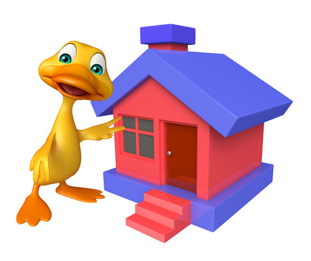 toonimal: 3d rendered illustration of Duck cartoon character with home