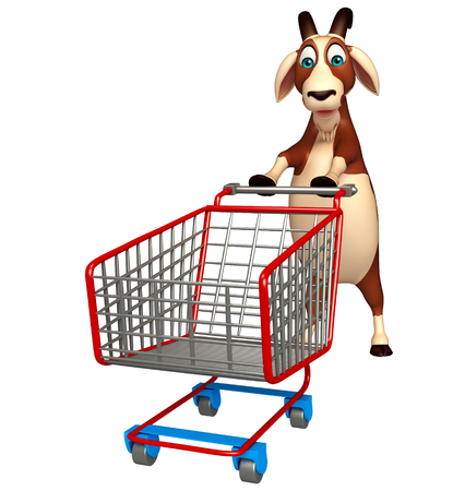 trolly: 3d rendered illustration of Goat cartoon character with trolly Stock Photo