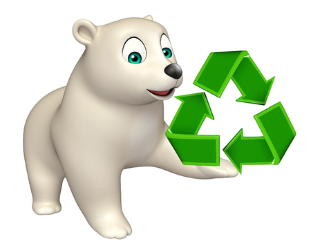 hunny: 3d rendered illustration of Bear cartoon character with recycle sign