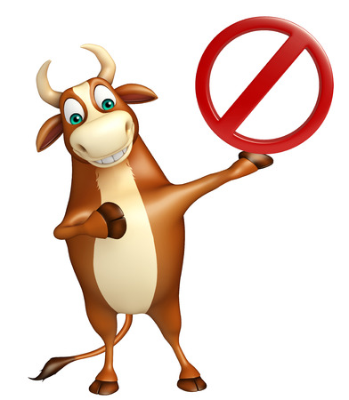 drive ticket: 3d rendered illustration of Bull cartoon character with stop sign
