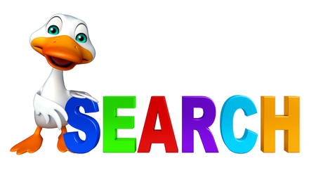 duck meat: 3d rendered illustration of Duck cartoon character with search sign