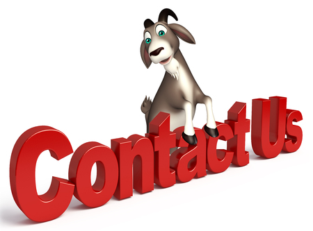 contact us sign: 3d rendered illustration of Goat cartoon character with contact us sign