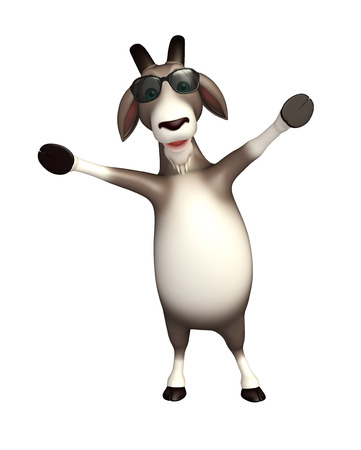 eyewear fashion: 3d rendered illustration of Goat cartoon character with sunglass