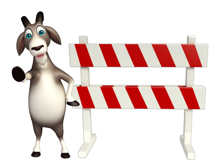 constuction: 3d rendered illustration of Goat cartoon character with baracades