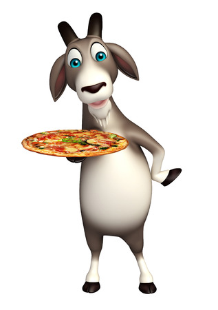 goat cheese: 3d rendered illustration of Goat cartoon character with pizza Stock Photo