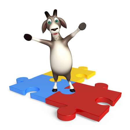 jig saw puzzle: 3d rendered illustration of Goat cartoon character with puzzle