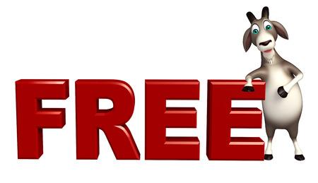 cuernos: 3d rindió la ilustración de personaje de dibujos animados de cabra con signo libres