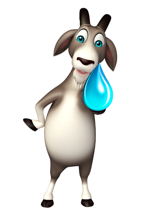 sea goat: 3d rendered illustration of Goat cartoon character with water drop