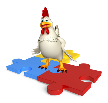 jig saw puzzle: 3d rendered illustration of  Hen cartoon character with puzzle