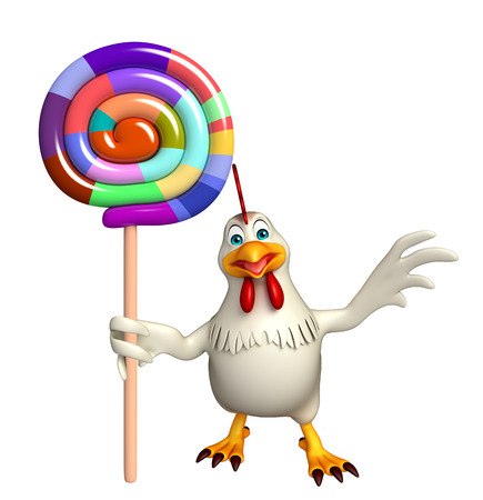 lollypop: 3d rendered illustration of  Hen cartoon character  with lollypop Stock Photo