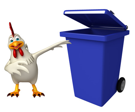 toonimal: 3d rendered illustration of  Hen cartoon character with dustbin Stock Photo