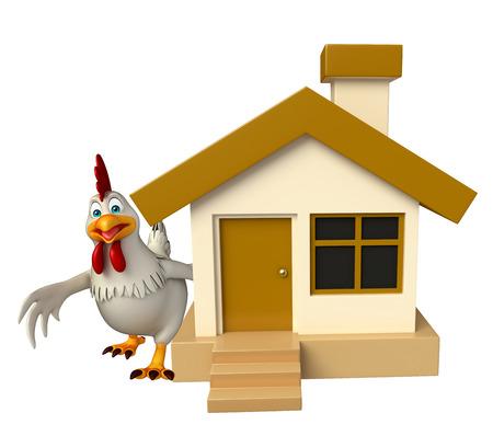 3d teruggegeven illustratie van Hen stripfiguur met huis Stockfoto