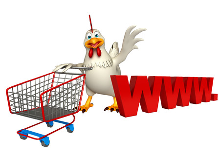 trolly: 3d rendered illustration of Hen cartoon character with trolly and www. sign Stock Photo