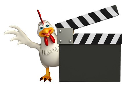 clapboard: 3d rendered illustration of  Hen cartoon character with clapboard Stock Photo