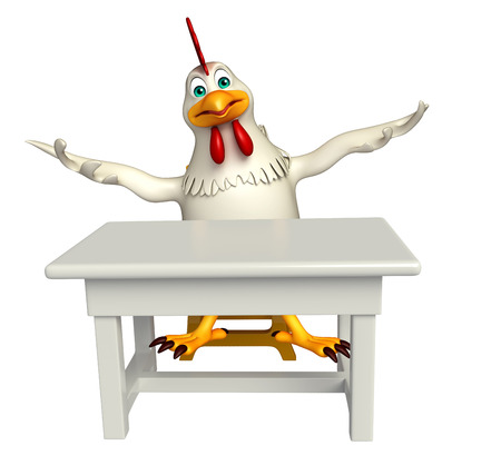 tabletop: 3d rendered illustration of  Hen cartoon character with table and chair Stock Photo