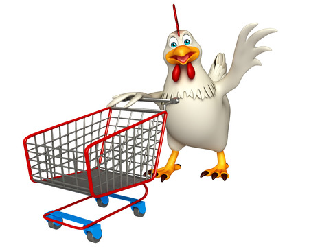 trolly: 3d rendered illustration of Hen cartoon character with trolly
