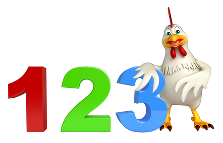 kiddie: 3d rendered illustration of  Hen cartoon character  with 123 sign
