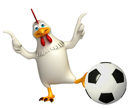 game meat: 3d rendered illustration of  Hen cartoon character with football