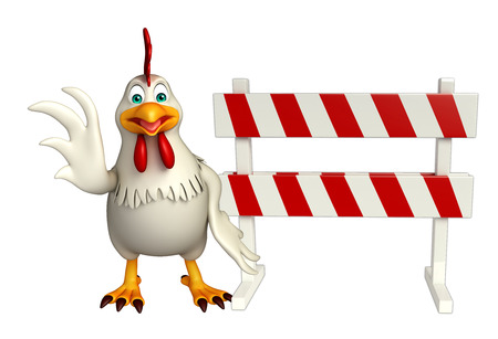 3d rendered illustration of Hen cartoon character with baracade