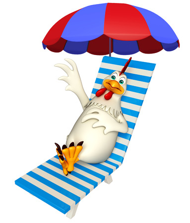outdoor chair: 3d rendered illustration of  Hen cartoon character with beach chair