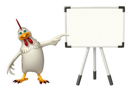 display board: 3d rendered illustration of Hen cartoon character with display board