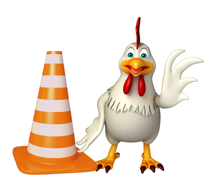 3d rendered illustration of  Hen cartoon character with construction cone Фото со стока - 53174263