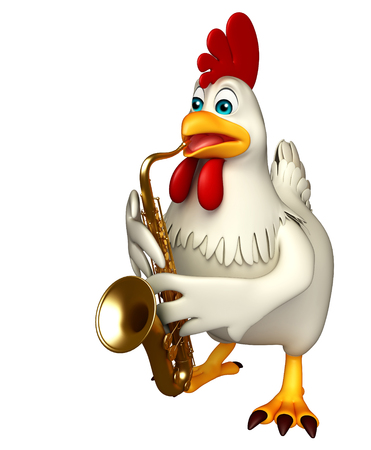 3d rendered illustration of  Hen cartoon character with saxophone
