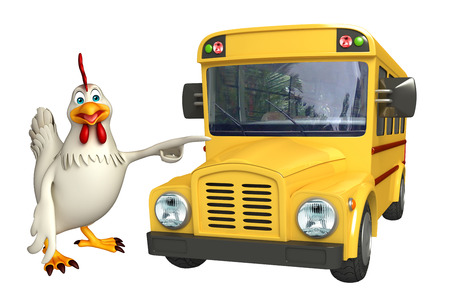 schoolbus: 3d rendered illustration of  Hen cartoon character with school bus Stock Photo