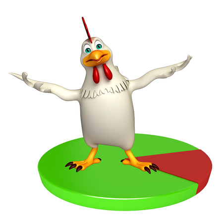 toonimal: 3d rendered illustration of  Hen cartoon character  with circle sign