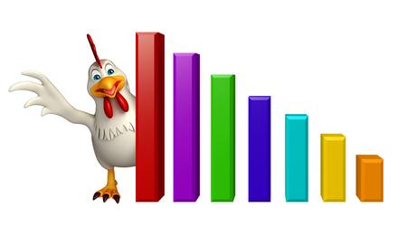 pollitos: 3d rindi� la ilustraci�n de personaje de dibujos animados con el gr�fico de la gallina Foto de archivo