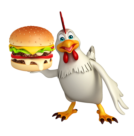 bacon and eggs: 3d rendered illustration of  Hen cartoon character with burger