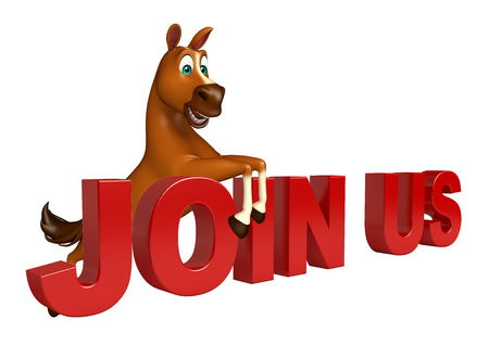unite: 3d rendered illustration of Horse cartoon character with join us sign Stock Photo