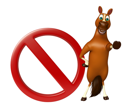 3d rendered illustration of Horse cartoon character with stop sign