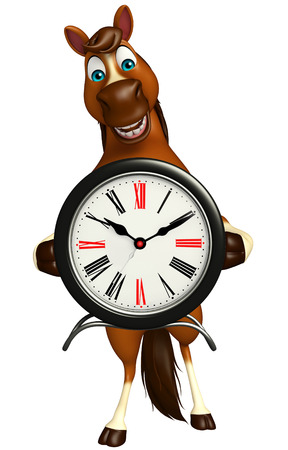 up time: 3d rendered illustration of Horse cartoon character with clock Stock Photo