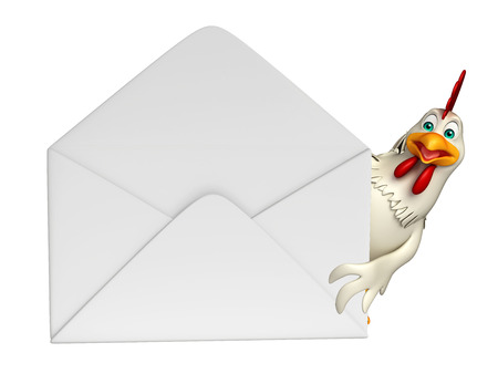 toonimal: 3d rendered illustration of  Hen cartoon character with mail