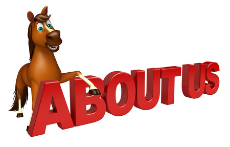 'about us': 3d rendered illustration of Horse cartoon character with about us sign