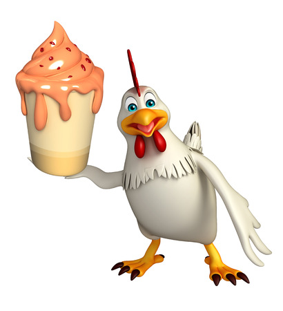 icecream: 3d rendered illustration of  Hen cartoon character with ice-cream