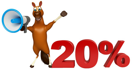 3d rendered illustration of Horse cartoon character with loud speaker and 20% sign Stock Photo