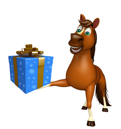 giftbox: 3d rendered illustration of Horse cartoon character with giftbox