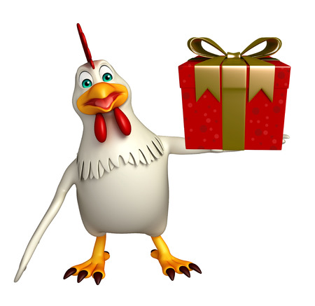 giftbox: 3d rendered illustration of  Hen cartoon character with giftbox