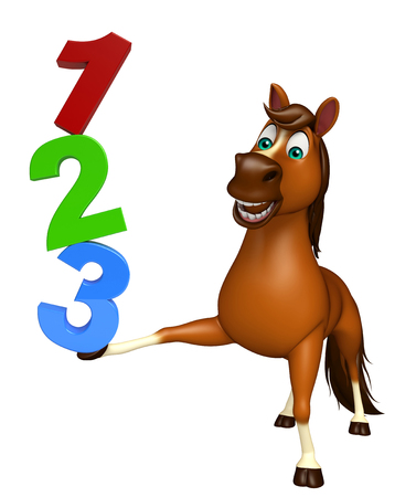 3d rendered illustration of Horse cartoon character with 123 sign