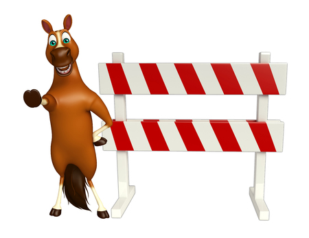 security lights: 3d rendered illustration of Horse cartoon character with baracade Stock Photo