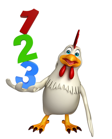 3d rendered illustration of  Hen cartoon character  with 123 sign