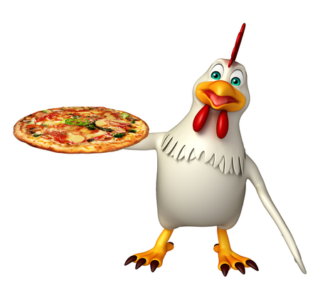 3d pizza: 3d rendered illustration of  Hen cartoon character with pizza Stock Photo