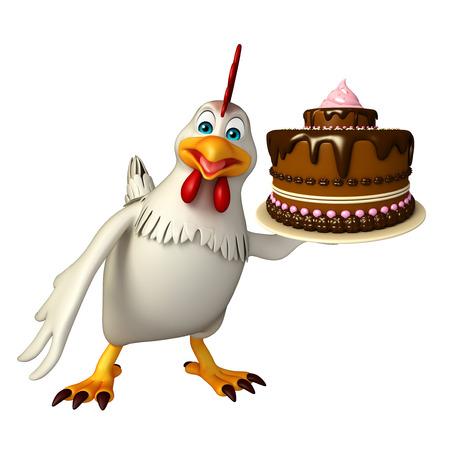 케이크와 함께 Hen 만화 캐릭터의 3d 렌더링 된 그림 스톡 콘텐츠