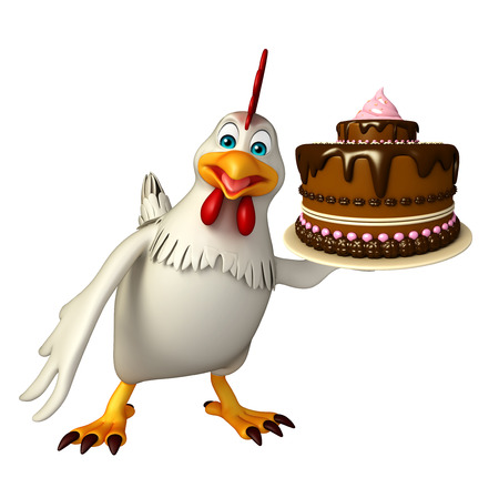 3d rendered illustration of  Hen cartoon character with cake Фото со стока