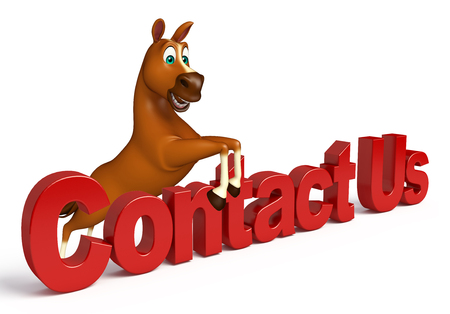 contact us sign: 3d rendered illustration of Horse cartoon character with contact us sign