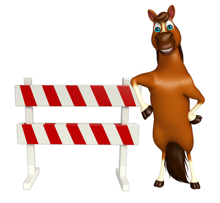 constuction: 3d rendered illustration of Horse cartoon character with baracade Stock Photo