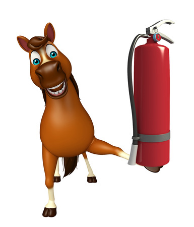 extinguishing: 3d rendered illustration of Horse cartoon character with fire  extinguishing