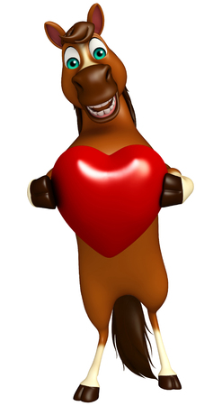 horse like: 3d rendered illustration of Horse cartoon character with heart